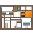 Workplace with table and computer Laptop vector image vector image
