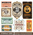 vintage labels collection set vector image