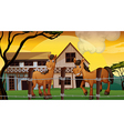 A farm with two horses vector image vector image