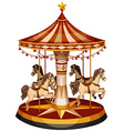 A merry-go-round with brown horses vector image vector image