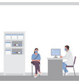 a woman at doctor appointment in doctor office vector image