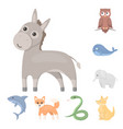 an unrealistic animal cartoon icons in set vector image