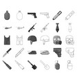 army and armament monochromeoutline icons in set vector image vector image
