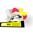 banner for sale modern hipster pop art open mouth vector image