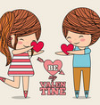 be my valentine couple giving hearts love gift vector image