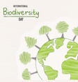 biodiversity day may 22 green tree planet card vector image