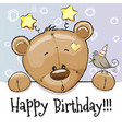 birthday card with teddy bear vector image vector image