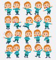 cartoon character white girl with sweater set vector image vector image