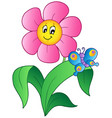 cartoon flower with butterfly vector image