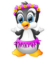 cartoon penguin with flower series in head vector image