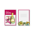christmas greeting card champagne bottle vector image vector image
