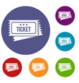 circus show tickets icons set vector image vector image