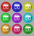 dialog box icon sign symbol on nine round vector image vector image