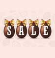 easter egg text sale happy easter chocolate eggs vector image vector image