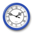elegant roman numeral wall clock in blue glossy vector image vector image