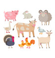farm animals flat collection isolated on vector image vector image