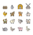 Farm animals icon set vector image vector image