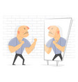fight with yourself man in front of a mirror vector image vector image