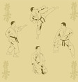 Four men show karate vector image vector image
