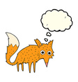funny cartoon fox with thought bubble vector image vector image