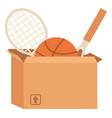 garage sale or declutter sport equipment in box vector image vector image