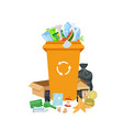 garbage waste overflowing trash can dirty vector image