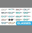 glasses set modern glasses icon different vector image vector image