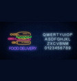 glowing neon food delivery sign with hurrying vector image vector image