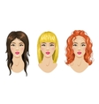Hairstyles set blonde brunette red-haired woman vector image vector image