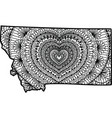 heart inside montana state map vector image