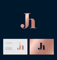 j and h letter monogram combined gold vector image