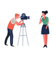 journalist and cameraman tv show or news program vector image