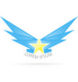 logo star with wings vector image vector image