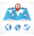 map icon and globe Pin Pointer vector image vector image