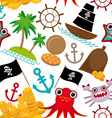Marine seamless pirate pattern on white background vector image vector image