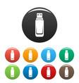 mini flash drive icons set color vector image vector image