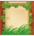 Nature background with leaves grass and paper