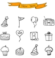 New Year icons hand draw collection vector image vector image