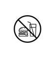 no food allowed line icon prohibition sign vector image vector image