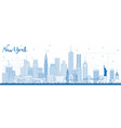 outline new york usa skyline with blue buildings vector image vector image