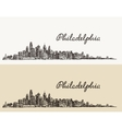 Philadelphia skyline hand drawn sketch vector image vector image