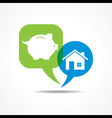 piggy bank and home in message bubble vector image vector image