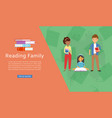 reading family and books concept for study and vector image vector image