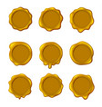 realistic detailed 3d yellow old seal wax stamps vector image vector image