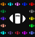 rugby ball icon sign Lots of colorful symbols for vector image