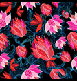 seamless bright graphic pattern red flowers vector image vector image