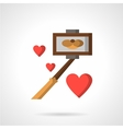 Selfie stick and hearts flat color icon vector image