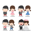 Set character cute cartoon wedding couples cute vector image vector image