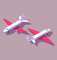 set front and back view aircraft for vector image vector image