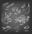 set hand drawn food on chalkboard vector image vector image